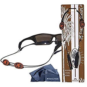 Tortuga Straps LINEZ Orange/Black 1pk – Adjustable Sunglasses Strap and Eyeglass Straps – Glasses Straps Fit Small & Larger glasses – Sunglass Retainer & Eyeglasses Strap Secure on Head or Neck