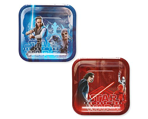 American Greetings Star Wars: the Last Jedi 8 Dessert Square Small Party Plates, Dessert Plates, 8-Count