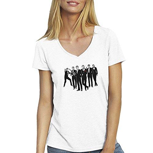 All James Bond Actors T-Shirt camiseta Cuello V para la Mujer Blanca