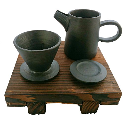 ZANTAN Handmade Ceramic Coffee Dripper and Pot Set, Far Infrared Radiation and Negative Ions, Reduce Bitter Taste, Pour Over Coffee Maker, 11.6 Ounce by ZANTAN (Image #5)