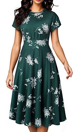 HOMEYEE Women's Short Sleeve Floral Casual Aline Midi Dress A102(4,Green)