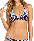 Mara Hoffman Women's Samba Wrap Around Triangle Bikini Top, Black/Blue, M