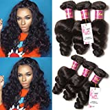 Unice Hair 7a Brazilian Loose Wave Virgin Hair 3 Bundles Loose Weave Curly Virgin Human Hair extensions (18 20 22, Natural Color)