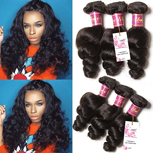 Unice Hair 7a Brazilian Loose Wave Virgin Hair 3 Bundles Loose Weave Curly Virgin Human Hair extensions (18 20 22, Natural Color) by UNICE