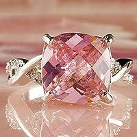 Sumanee Fashion Silver Ring Women Pink & White Gemstone Jewelry Gift Size 6 7 8 (6)