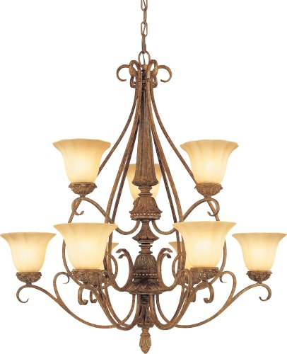 9-64 Capri 9 Light Chestnut Spice Chandelier, 36