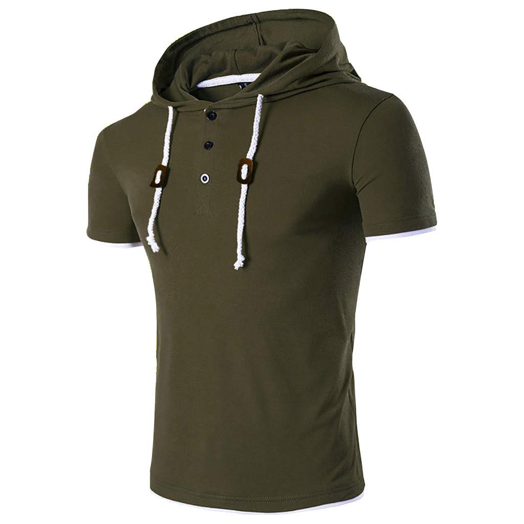 2019 New Mens Basic Hooded Short Sleeve Button Solid T Shirt Casual Tops