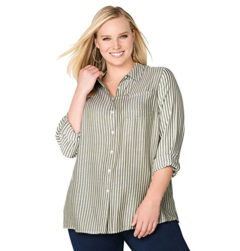 Avenue Women's Striped Tab Sleeve Tunic, 14/16 Olive