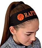 Basketball Tie Back Moisture Wicking Headband Personalized with the Embroidered Name of Your Choice (BLACK HEADBAND)