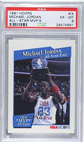 Michael Jordan PSA GRADED 6 (Basketball Card) 1991-92 NBA Hoops - All-Star MVPs #IX (1991 Nba Hoops Michael Jordan Mvp Card)
