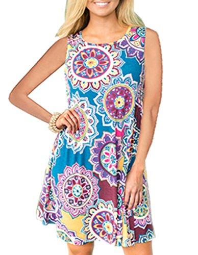 Women's Summer Sleeveless Damask Tunic Top Casual Floral Print T-Shirt Midi Dress with Pocket for Legging (Medium, Blue Yellow)