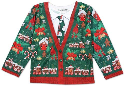 Toddler Long Sleeve: Ugly Xmas Cardigan Costume Tee Longsleeve Shirt Size (Ugly Christmas Toddler Cardigan Costumes)