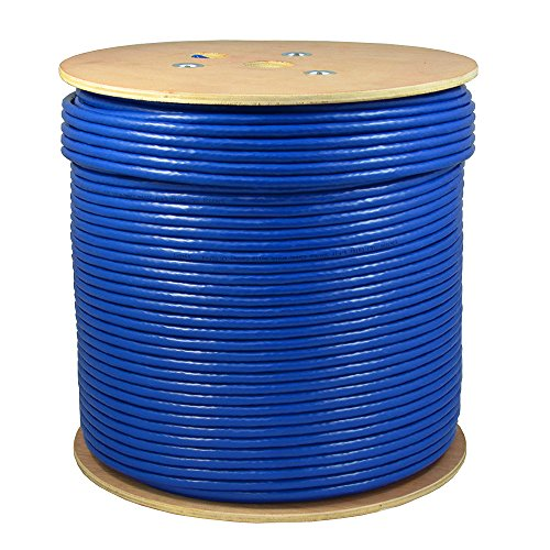 SolidLink 1000ft CAT6A S/FTP in-Wall (CMR Rated) UL Listed Bare Copper Solid 23AWG Conductor 550Mhz Fluke Tested Ethernet Wire (Blue) ()