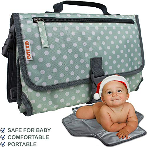Cute Kid Baby Changing Pad Portable Travel | Diaper Changing Station Mat for Boys and Girls | Cushioned Waterproof Changing Clutch to Keep Your Infant Far from Injury and Dirty Surfaces (Green)