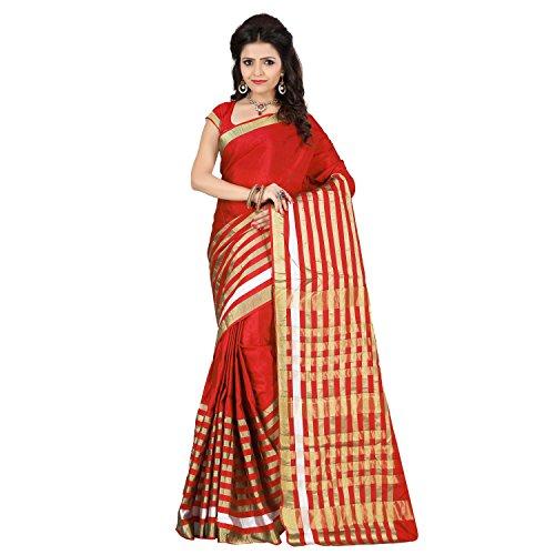 Stutti Fashion Self Design Womens Red Silk Jacquard Saree