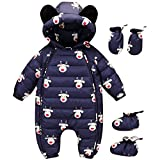 M&A Newborn Baby Girls Cartoon Down Romper Winter Coat Warm Snowsuit