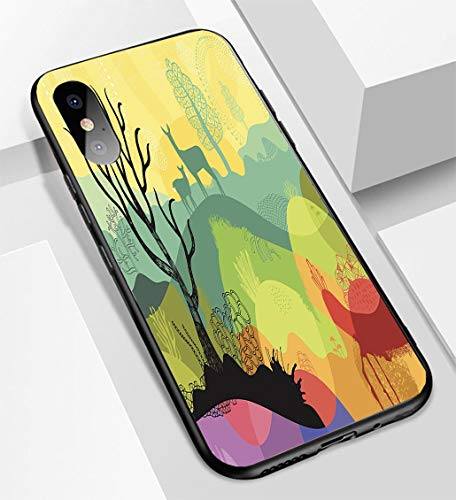 iPhone X/XS Ultra-Thin Glass Back Phone case,Colourful Sunny Landscape with Plants Trees and Deers Soft and Easy to Protect The Protective case