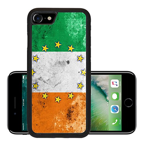 Liili Premium Apple iPhone 7 Aluminum Backplate Bumper Snap Case iPhone7 IMAGE ID 31988898 Ireland and European Union Flag with a vintage and old - Store Euro Ireland