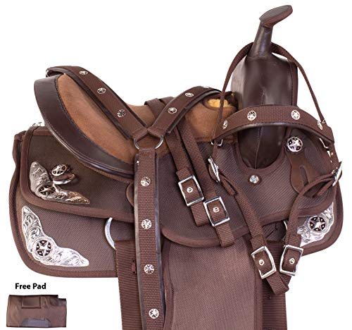 (AceRugs Brown Synthetic Cordura Youth Kids Western Trail Horse Pony Saddle TACK Set Headstall REINS Breast Collar (13))