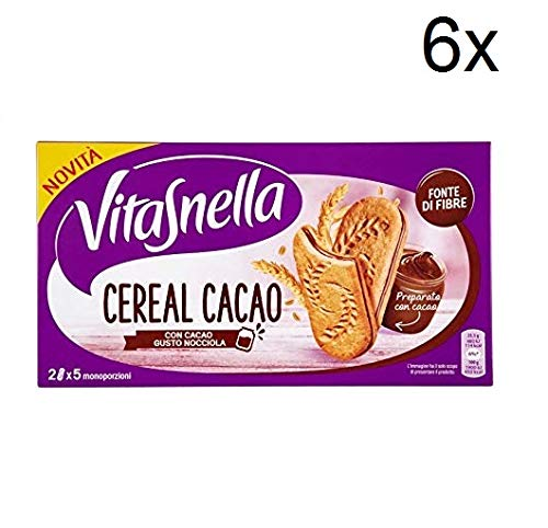 6X Vitasnella Cereal Cocoa with Cocoa, Hazelnut Biscuits 253 g Cereal Biscuits