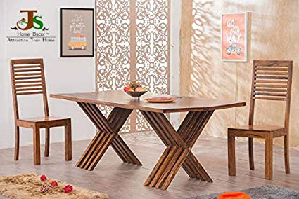 Js Home Décor Solid Wooden Leh Dining Table Set with 6 Chairs