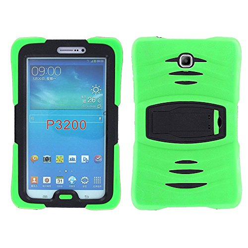 Galaxy Tab 3 7.0 (2013) Case KIQ, Full-Body Shockproof Heavy Duty Protective Cover with Kickstand Screen Protector for Samsung Galaxy Tab 3 7-inch P3200 T210 T217 (Armor Green) (Tab 7 Green Samsung Case Galaxy)