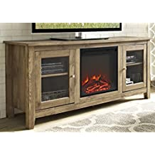 """WE Furniture 58"""" Wood Media TV Stand Console with Fireplace - Barnwood"""
