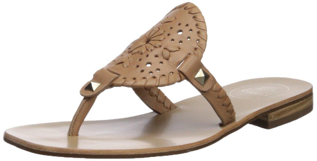 Jack Rogers Women's Georgica Flat Sandal, Buff, 7.5 Medium US