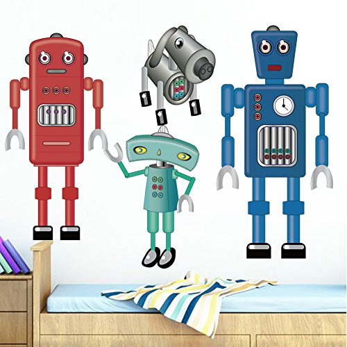 decalmile Giant Robots Wall Decals Kids Room Wall Decor Peel and Stick Wall Stickers for Boys Room Baby Nursery Bedroom Playroom