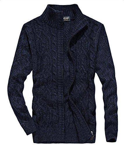 Dark Sweater Full Mens Cardigan Long amp;W Sleeve M Zipper Winter Blue amp;S xa6q1Zw4vA