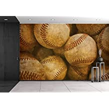 wall26 - Aged Vintage Baseball Background - Removable Wall Mural | Self-adhesive Large Wallpaper - 66x96 inches