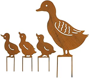 Garden Silhouette Stakes, 4Pcs Metal Duck Shape Statue, Inserted Lawn Retro Animal Sculpture Ornament for Fences Backyards Party