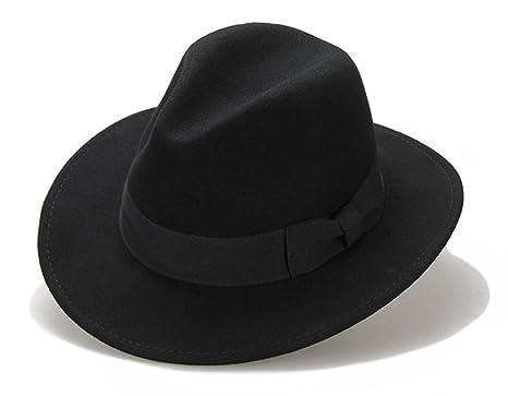 27e58d35577 Big bowknot Wide-Brimmed 100% Wool Felt Hat Women s Jazz Cap Cowboy Hat  Fedora