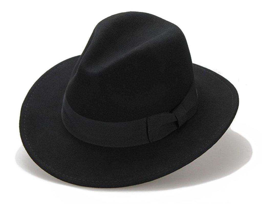 Big bowknot Wide-Brimmed 100% Wool Felt Hat Women's Jazz Cap Cowboy Hat Fedora Hat 4Color by Vitality Shop (Image #1)