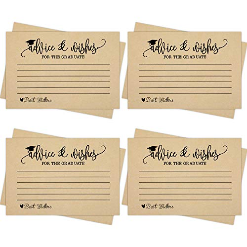 50 Pieces Graduation Advice Cards 2019 Graduation Party Wishing Well Cards for College High School Graduation Party, 4 x 6 Inches (Color 4)