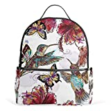 Cheap Sunlome Retro Hummingbirds Butterfly Floral Pattern Laptop Backpack Casual Shoulder Daypack for Student School Bag Handbag – Lightweight
