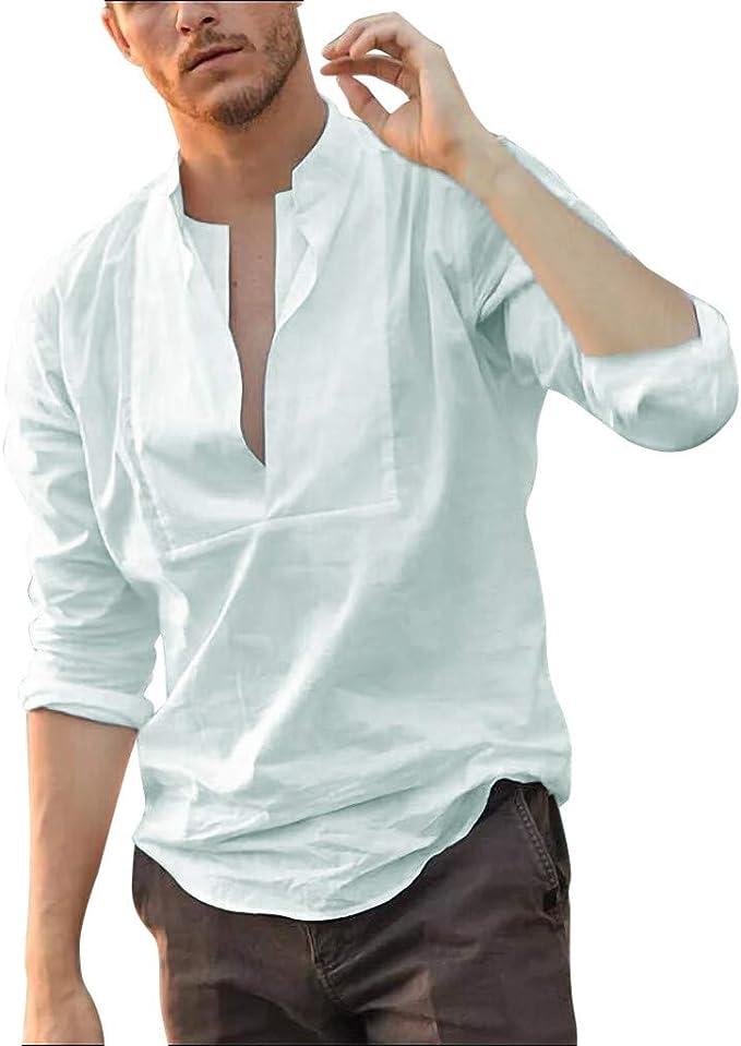 Men/'s Summer Long Sleeve Shirts Loose Casual Solid Linen V-neck Shirt Tops Tee