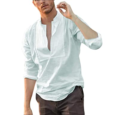 7569ebd7d Mens Linen V Neck Blouse Summer Solid Long Sleeve Shirt Loose Henley Big and  Tall Shirts Casual T Shirts jinjiums at Amazon Men's Clothing store: