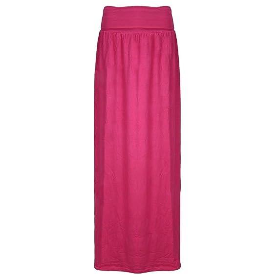0119ab963a5af9 Janisramone Femmes Dames Nouveau Plaine Plissé Plier Over Waist Jersey  Gitan Longue Longueur Viscose Maxi Jupe