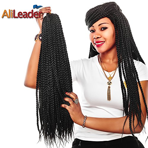 Alileader Box Braids Hair 6Packs/Lot Crochet Braids Hair Extensions 24inch Synthetic Braiding Hair (Black)
