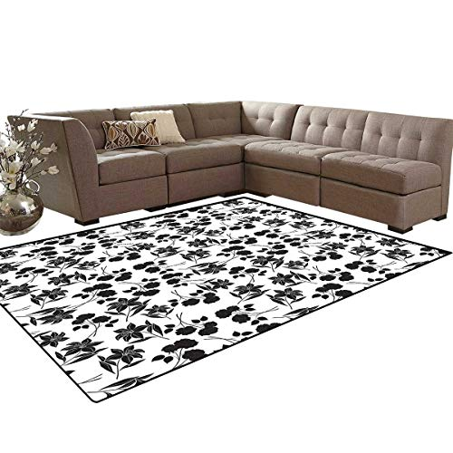Black and White Anti-Skid Area Rugs Romantic Botanical Garden with Rose and Lily Silhouettes Bridal Customize Door mats for Home Mat 6'x8' Charcoal Grey White