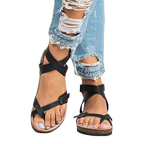 Liyuandian Womens Cross Toe Double Buckle Strap Summer Leather Flat Mayari Sandals