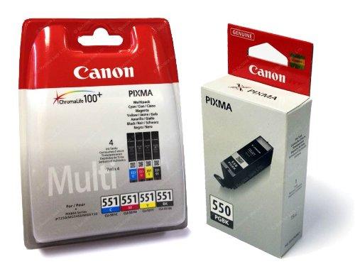PGI-550 / CLI-551 Pack of 5 Original Ink Cartridges Canon Pixma 550 551 Genuine Canon