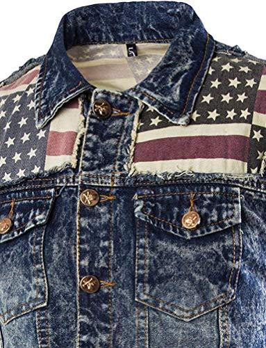 Used Slim Vestaglia Senza Fit Coat Essenziale Emmay Di Jeans Blau Giacca Vest Maniche SwvX0q