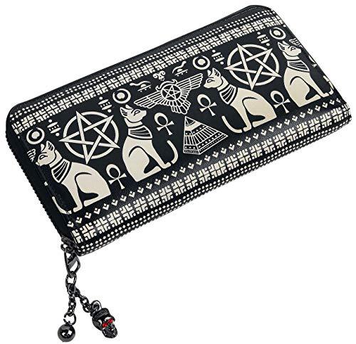 Wallet Pentagram (Banned Apparel Anubis Egyptian Sphynx Cat Pyramid Pentagram Vegan Black Wallet)