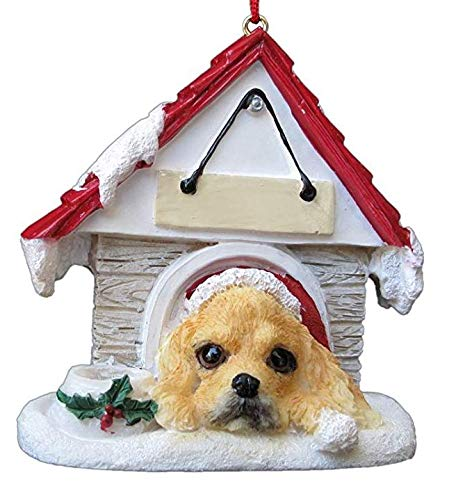 Doghouse Ornament - Cocker Spaniel Blonde Color - Hand Painted and Personalized Christmas Tree Ornament with Magnet (Magnetic Back)