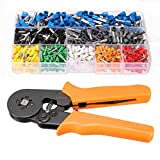 KISENG Ferrule Crimper Plier 23AWG to 10AWG Self Adjusting Ratcheting Tool with 800pcs Connector Terminal