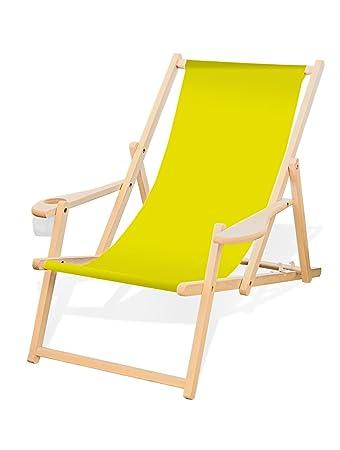 Liegestühle Aus Holz.Holz Liegestuhl Mit Armlehne Und Getränkehalter Klappbar Wechselbezug Gelb Zitronengelb