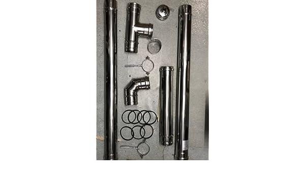 Kit Estufa de pellets tubo 80 mm. tubo acero inoxidable 304 resistentes Certificado CE: Amazon.es: Bricolaje y herramientas