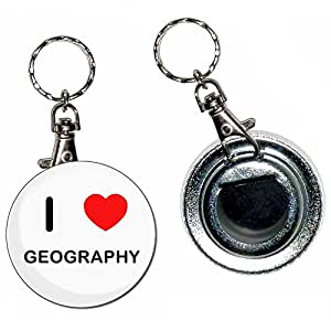 I Love Heart Geography - 55mm Button Badge Bottle Opener Key Ring